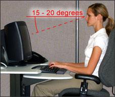 Ergonomika darbā ar datoru - Skata leņķis